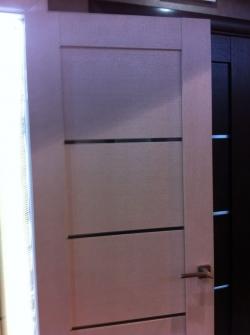 Межкомнатная  шпонированная дверь Токио-5 ПЧО белый дуб Д-21