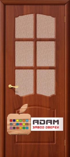 Межкомнатная дверь с ПВХ-пленкой Альфа ПО, итальянский орех
