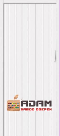 Межкомнатная раздвижная дверь (Гармошка) Адам-008 белый глянец