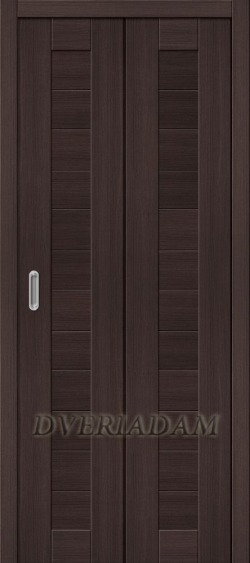 Межкомнатная складная дверь с эко шпоном Порта-21 Wenge Veralinga