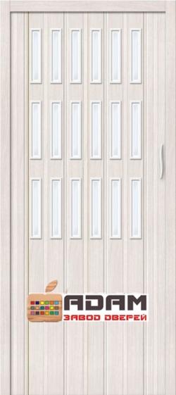 Межкомнатная раздвижная дверь (Гармошка) Тип-018 белый дуб