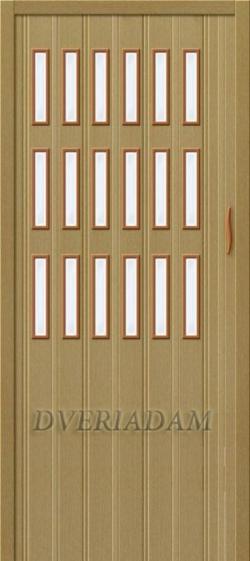 Межкомнатная раздвижная дверь (Гармошка) Тип-018 светлый дуб