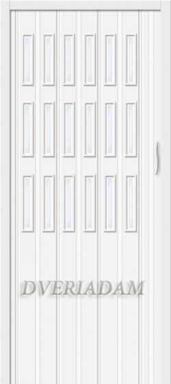 Межкомнатная раздвижная дверь (Гармошка) Тип-018 белый глянец