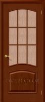 Межкомнатная шпонированная дверь Капри-3 ПО дуб Темный орех (Д-32)