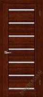 Дверь Премьер Плюс ОКА (цвет махагон) частично остекленная
