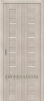 Межкомнатная складная дверь с эко шпоном Порта-22 Cappuccino Veralinga