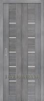 Межкомнатная складная дверь с эко шпоном Порта-22 ск Grey Veralinga