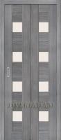 Межкомнатная складная дверь с эко шпоном Порта-23 ск Grey Veralinga