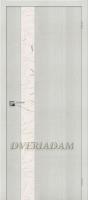 Межкомнатная дверь с эко шпоном Порта-51 Bianco Crosscut  «Silver Art»