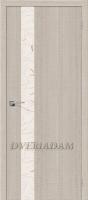 Межкомнатная дверь с эко шпоном Порта-51 Cappuccino Crosscut  «Silver Art»