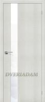 "Межкомнатная дверь с эко шпоном Порта-51 WW Bianco Crosscut  ""White Waltz"""