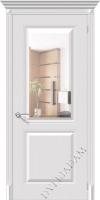 Межкомнатная окрашенная дверь Блюз пг белый зеркалом