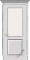 Межкомнатная окрашенная дверь Блюз по белое серебро