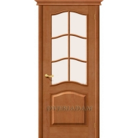 Межкомнатная дверь М7 ПО с белым сатинированным стеклом, светлый лак, массив