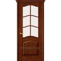 Межкомнатная дверь М7 ПО с белым сатинированным стеклом, темный лак, массив